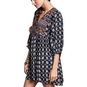 {Umgee} Boho Baby Doll Tunic Dress Top Size M EUC